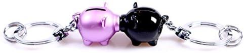 CS 貨幣缶の2つの組み合わせピグレットキーチェーンリングペンダントの装飾品 ( Color : Purple+black )