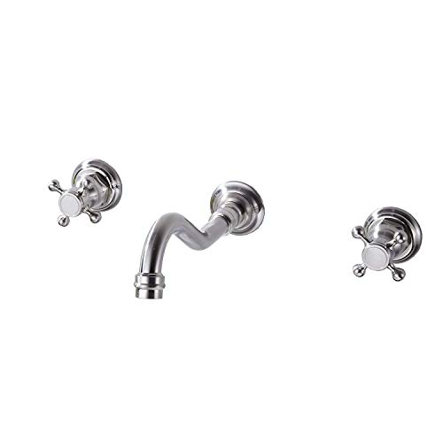 Yifinessyi Wall Mount Widespread Bathroom Sink Faucet 3 Holes 2 Knobs Handles Lavatory Brushed Nickel Commercial