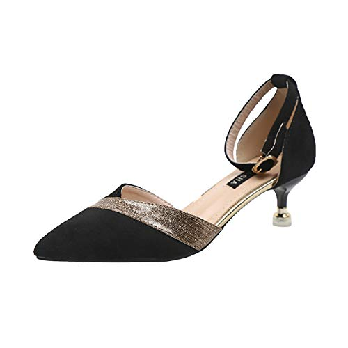 KOKQSX-Hollow Delgado Talon Tacon Alto de 5cm Cabeza Puntiaguda Boca Superficial Zapatos de Mujer. Treinta y Ocho Black
