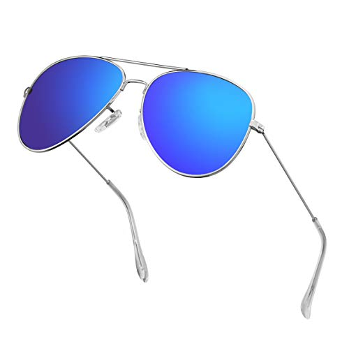 Polarized Aviator Sunglasses for Men Metal Mens Sunglasses Driving Unisex Classic Sun Glasses for Men/Women Dark Blue