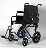 "Wheelchair - 19"" Seat Width Dark Blue Rollabout with Desk Arm Lightweight Transport Chair w/ 12"" Wheels and Detachable Desk Arms. Includes Safety belt and swing away footrests."