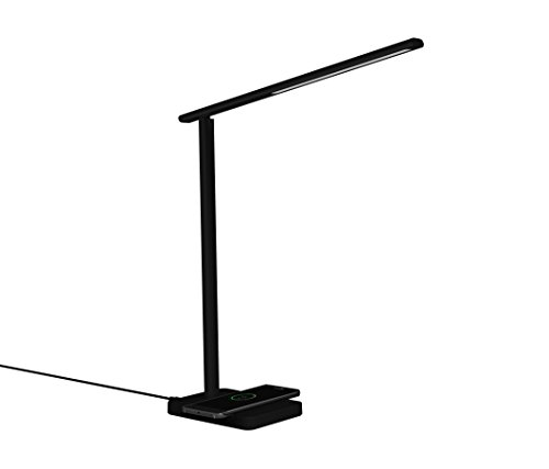 LED Desk Lamp with Qi Wireless Charger, Eye-caring Table Lamps, Dimmable Lamp with 5V/1A USB Charging Port, Office Desk Lamp, Touch, 4 Color Temperature Modes by Geelky (Jet Black) by Geelky (Image #10)