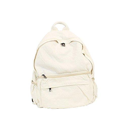 Blanc sac à Fanshu dos sac à dos scolaire décontracté femme Toile wP4xvPqB