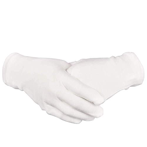 16 Pairs White Cotton Gloves 8.6