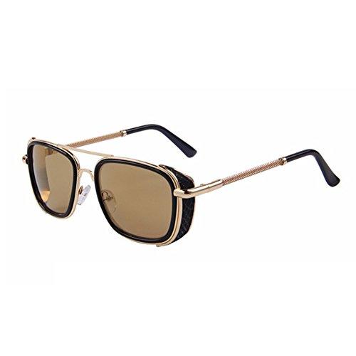 Men Steampunk Sunglasses Women Classic Brand Designer Sunglasses Double-Bridge Shades - Shades Raybon