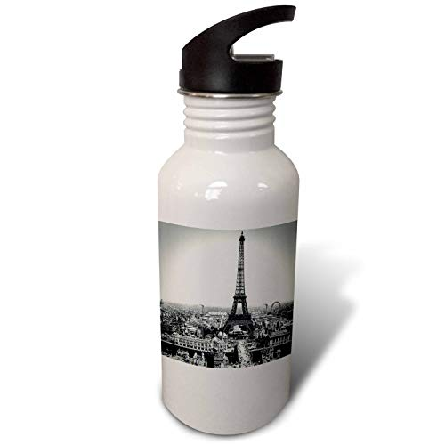 3dRose Scenes from The Past - Magic Lantern - Vintage Magic Lantern Slide Eiffel Tower Paris France 1889 - Flip Straw 21oz Water Bottle (wb_301270_2)