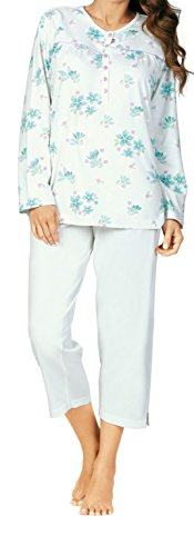 Comtessa Damen Schlafanzug Pyjama Hose 3/4 lang 1/1 Arm Gr. 52 mint Knopfleiste