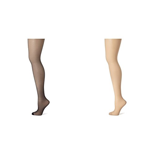 Hanes Women's 2 Pack Control Top Reinforced Toe Silk Reflections Panty Hose, Classic Navy/Nude, E/F