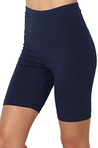 TheMogan Women's Mid Thigh Cotton High Waist Active Short Leggings Navy M