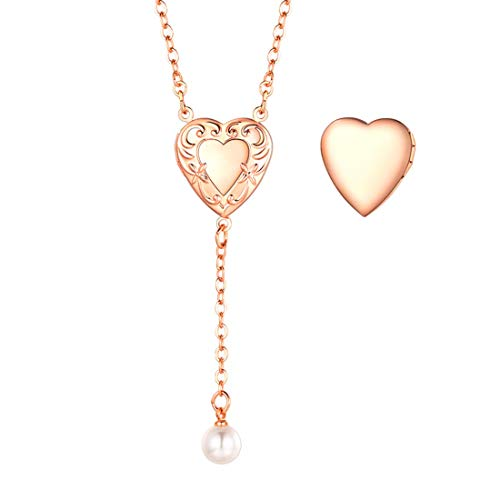 U7 Rose Gold Y Necklace 18 Inch Chain Flower Heart Locket & Pearl Dangling Charm Pendant for Women Girls
