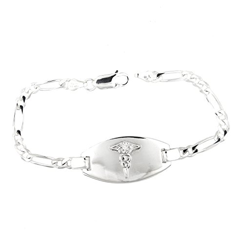 Sterling Silver Polished Medical Alert Identification Figaro Chain Engravable Bracelet (7 ()