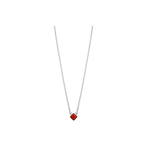 Boma Jewelry Sterling Silver Synthetic Red Coral Diamond Shaped Necklace, 18 Inches