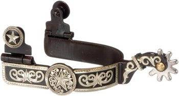 Overlay Spur (Kelly Silver Star Antique Brown Spurs with Engraved Star Overlay)