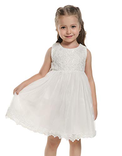 Arshiner Baby Girls Tulle Flower Lace Princess Dress First Communion Dress, White, 90(Age for 2Y)