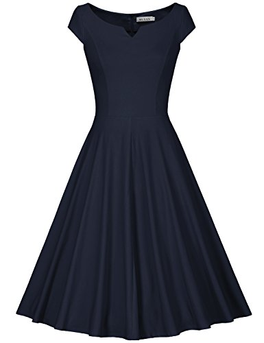 MUXXN Women's Vintage 1950s Cap Sleeve Rockabilly Cocktail Flared Dress (M Blue)