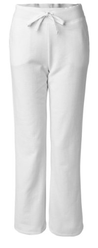 (A&E Designs Ladies Heavy Blend Yoga Style Sweatpants, Small, White)