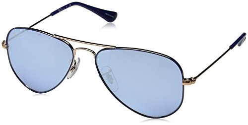 Ray-Ban Junior RJ9506S Aviator Kids Sunglasses, Blue on Copper/Blue Flash Silver, 52 ()