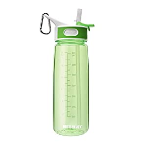 BOTTLED JOY BPA Free Tritan Bite Valve Water Bottle with Straw and Handle, Wide Mouth 100% Leak Proof Camping Water Bottles 27oz 800ml (Green)