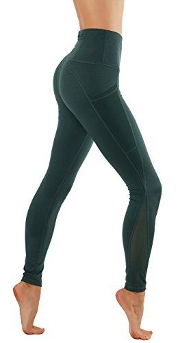 CodeFit Yoga Pants Power Flex Dry-Fit Mesh-Paneled In Both Side Leg, Exposed Back Zipper For STORING Full Length Leggings (M USA 2-4, CF674-GRN) Exposed Back Zipper