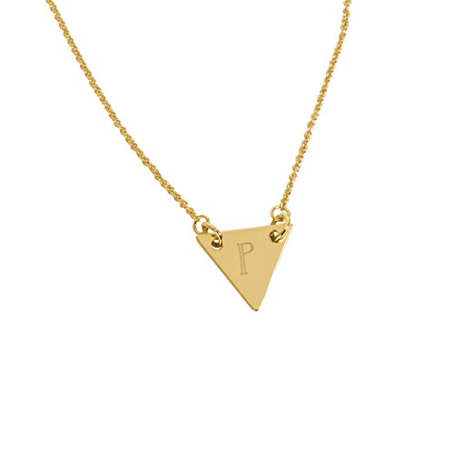 Cathy's Concepts Personalized Triangle Pendant Necklace, Gold, Letter P