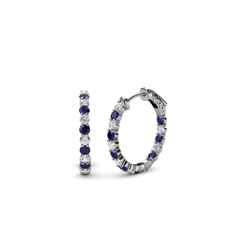 TriJewels Blue Sapphire and Diamond SI2-I1, G-H Inside-Out Hoop Earrings 0.75 cttw in 14K Gold