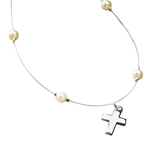 - First Communion Gifts Simulated Faux Pearl Bead with Silver Tone Cross Charm Illusion Necklace, 16 Inch