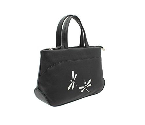 Grab Mala Piel AZUL Colección de cuero suave del bolso con correa para el hombro 783_81 Magenta negro