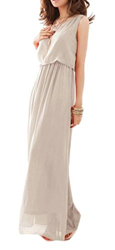Long Summer Solid Cruiize Women Boho Gray Light Chiffon Sleeveless Dress Beach S nqYA4Aw6