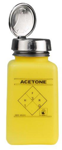MENDA 35277 durAstatic HDPE ESD Safe One-Touch Pump Dissipative Bottle, Acetone Printed, Yellow, 6 oz Volume (Pump Menda)