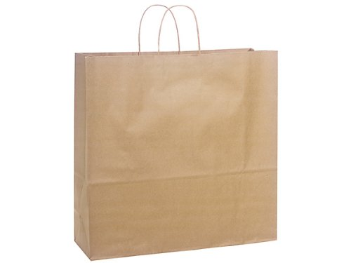Brown Kraft Paper Shopping Bag with Twisted Paper Handle, 18'' X 7'' X 19'' Tall. 24 Per Pack