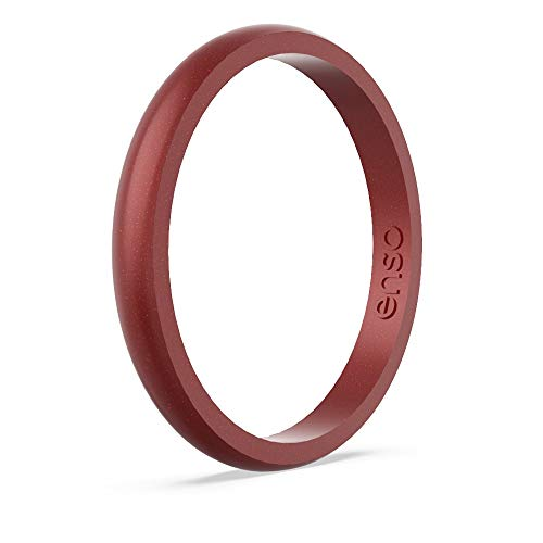 Enso Rings Halo Birthstone Silicone Ring   Made in The USA   Lifetime Quality Guarantee   Comfortable, Breathable, and Safe (Garnet, 4)