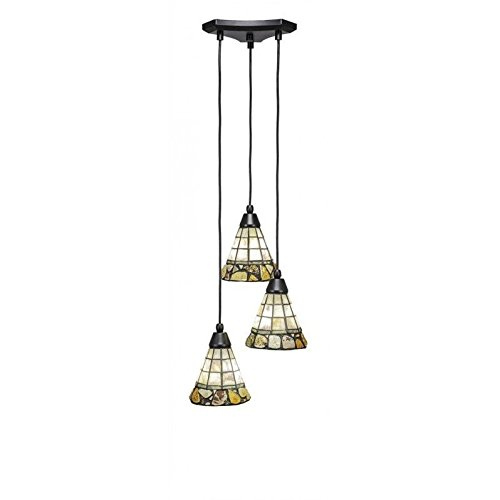 - Toltec Lighting 28-MB-9735 Europa 3 Multi-Light Mini Pendant with Cobblestone Glass, 7
