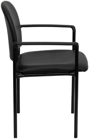Emma Oliver Comfort Stackable Steel Side Reception Chair with Arms Black Vinyl