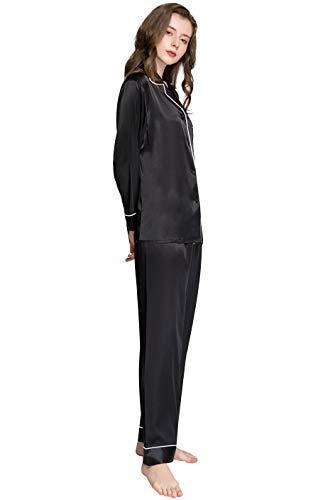 Womens Silk Satin Pajamas Set Sleepwear Loungewear Black - Watch Pajama Black