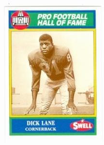 Dick Lane football card (Detroit Lions) 1990 Swell #65 Football Greats