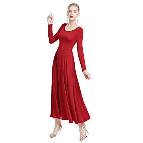 eb8558b6aba Women Long Sleeve Plain Liturgical Praise Dress Full Length Worship Ruffled  Wide Swing Loose Fit Dance Dress Red XXL