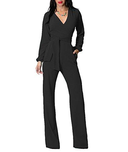 IyMoo Women V Neck Belted Sleeveless Wide Leg Jumpsuit Black Large
