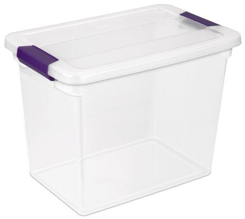 Sterilite 17631706 27 Quart/26 Liter ClearView Latch Box, Clear with Sweet Plum Latches, (Quart Box)