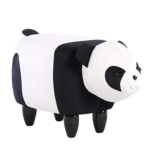 Artechworks Upholstered Ride-On Ottoman Footrest Stool with Vivid Adorable Animal-Like Features,Perfect for Gift, Changing Shoes, Decoration, Toys, Without Storage(Chinese Panda)
