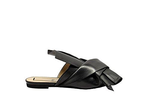 N ° 21 80048 Dames Zwart Lederen Sandalen