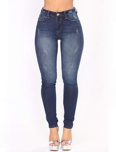 YFLTZ Pantalons/Jeans Pantalons - Couleur Unie Basic/Street Chic Slim Suits Blue