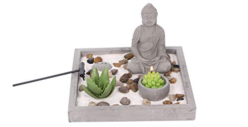 Cement Garden Sculpture - Cement Zen Garden - All-in-One Miniature Rustic Garden - Artificial Sculpture Made from Resin and Concrete - Mini Set with Rocks, Sand, Candle and Incense Holder - Brilliant Home or Office Decoration
