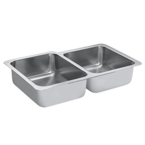 Moen G18232 1800 Series 18 Gauge Double Bowl Undermount Sink, Stainless Steel by Moen by Moen