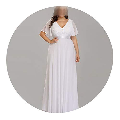 Evening Dresses Ever Pretty Elegant V-Neck Ruffles Chiffon Formal Evening Gown Party Dress -