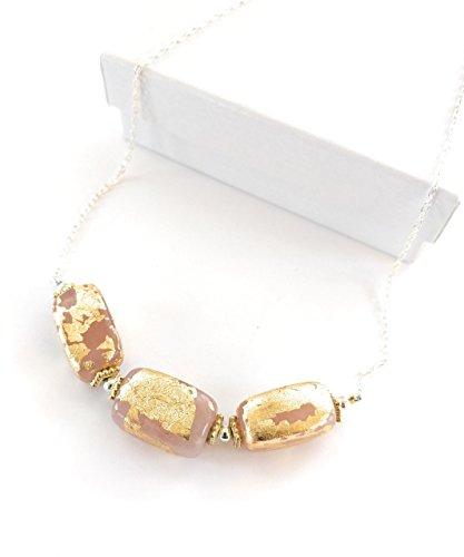 Rose Quartz Gold Leaf Gem Bar Necklace 18-Inch Pink Rose Quartz Leaf