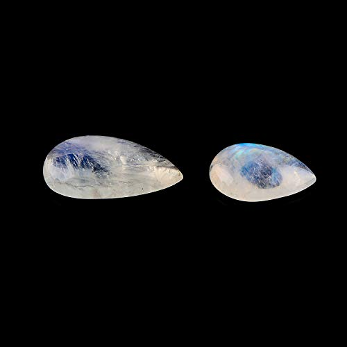 Jaguar Gems A Rainbow Moonstone Crystal, Blue Fire Moonstone, Natural Oval Cabochon Supply, DIY-Crystal Jewelry Making, Wire Wrapping, Assorted Loose Crystals (Pack of 2)