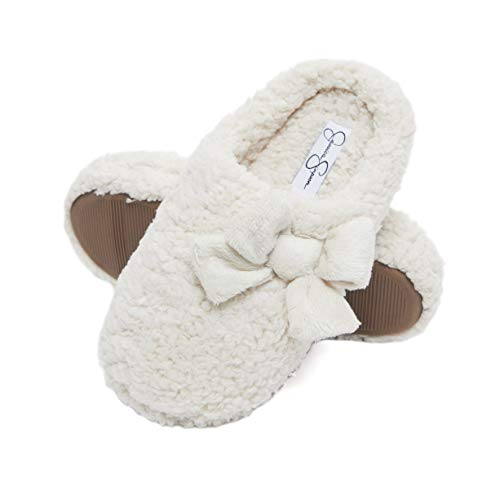 Jessica Simpson Womens Plush Marshmallow Slide On House Slipper Clog with Memory Foam (Size Small, Ivory)