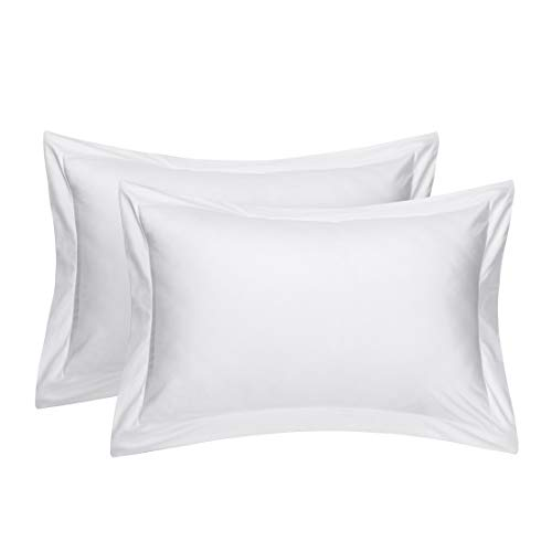 uxcell Pillow Shams Oxford Pillow Cases Egyptian Cotton 300 Thread Count Solid/Plain Pattern White 20 x 36 Inch Set of 2