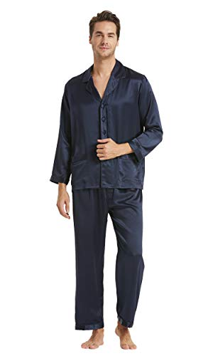 LilySilk Silk Pajamas for Men 2 Piece Set Real 100 Soft Mulberry 16 Momme Lightweight Male Pjs