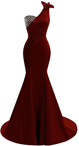 (Lily Wedding Womens One Shoulder Satin Mermaid Prom Dresses 2018 Long Formal Evening Ball Gowns D44 Burgundy Size 16)